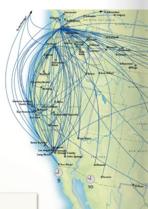 Alaska Airlines route map October 2010