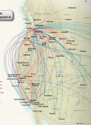 Horizon Air and Alaska Air Route Map from the Horizon Air Magazine